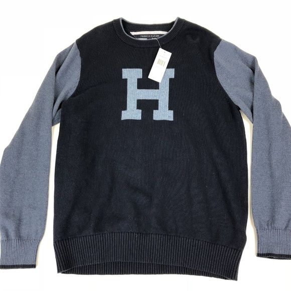 Tommy Hilfiger Sweaters Blue Crewneck H Sweater Poshmark